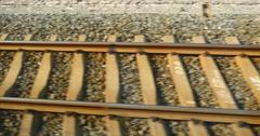 4k Speeding train travel,scenery outside window.train-station rail. Stock Footage