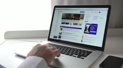 Yahoo! webpage on macbook - stock footage