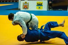 young men in judo - stock photo