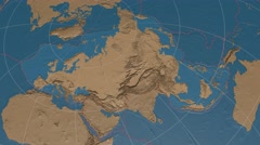 Eurasian tectonic plate extruded on disc. elevation & bathymetry, solids. 4k Stock Footage