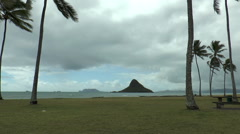 Mokolli island view from kualoa beach regional park, oahu hawaii Stock Footage