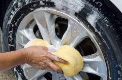 wash wheels - stock photo