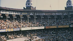 Barcelona 1969: people waiting for the bullfighting at the Monumental arena Stock Footage