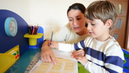 Stock Video Footage of Mother helping her kid to make drawings