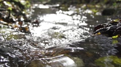 Small waterfall with sun sparkles on the water in slow motion Stock Footage
