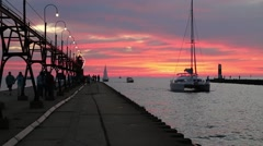Sailboat coming into between the Piers Stock Footage