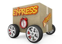 Cardboard box with wheels - express concept Stock Illustration