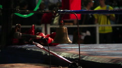 boxing bell and ring corner - stock footage
