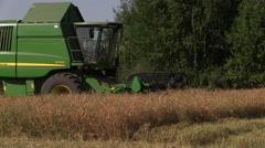 Combine harvester thrashing pea field on village Stock Footage