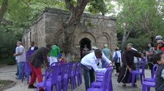 Ephesus Turkey religious program setup Virgin Mary House HD Stock Footage