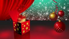 Spinning gift box opening and magic stars and light coming out Stock Footage
