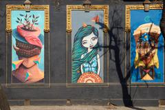 Murals of Barrio Yungay Stock Photos