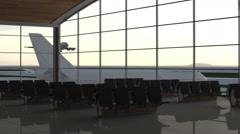 Modern airport passenger terminal. Aircraft landing. Flying plane. Stock Footage