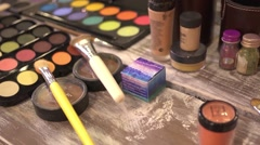 Make-up cosmetics tools - stock footage