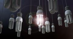 Leadership hanging lightbulb Stock Illustration