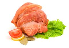 whole smoked and boiled ham - stock photo