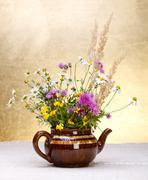 wild flowers still life - stock photo