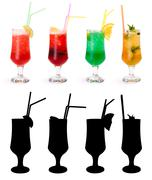 various non-alcoholic cocktails and their rtansparency mask - stock photo