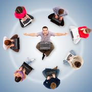 social network members around one successful man - stock photo