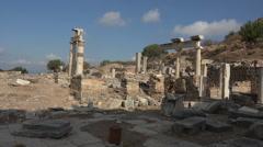 Ephesus Turkey ancient Roman column ruins HD Stock Footage
