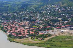 Aerial view of Mtskheta, city with many attractions in 20 kilometres from Stock Photos