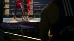fighter looking boxing match - stock footage