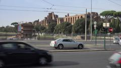 Palantine Hill ruins; Rome traffic foreground - stock footage
