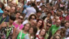 Anonymous Crowd rakish angle defocused Stock Footage