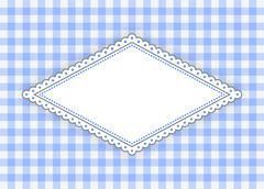 blue rhombus label with dotted frame - stock illustration