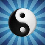 yin yang symbol on blue rays background - stock illustration