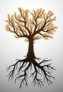 Stock Illustration of autumn tree and it's roots