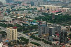 view of Beijing from city TV tower - stock photo