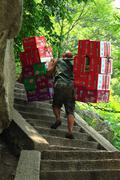 Worker is carrying boxes with beverages Stock Photos