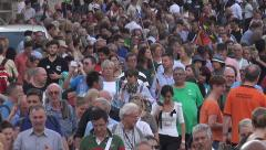 Tilt crowd, see Swiss Guards as tourists leave Vatican Stock Footage