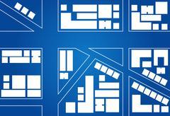 Blueprint Of City Map Stock Illustration