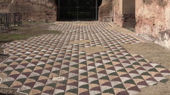 Zoom out Mosaic tile floor Baths of Caracalla Stock Footage