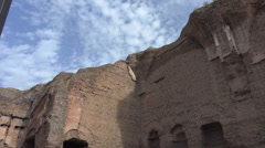 Zoom to painted stucco fragment on Baths of Caracalla  Stock Footage