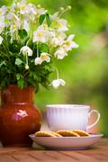 Cup of tea and anemones Stock Photos