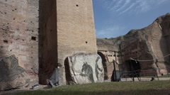 Mosaic mythical creature at Baths of Caracalla Stock Footage