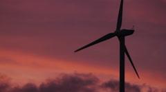 Wind Turbines at Sunset Stock Footage