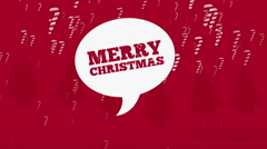 Marry christmas bubble text on red background Stock Footage