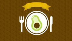 Avocado on dish, animation design, hd 1080 Stock Footage