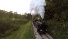Aerial view steam engine train locomotive. nostalgic retro background Stock Footage