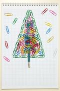 Christmas greeting card made of stationery Stock Photos