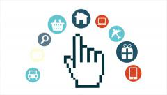 Mouse pointer, hand mouse pointer different icons, internet concept Stock Footage