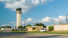 Houston TX Hobby Airport HOU Air Traffic Control Tower Wide Stock Footage
