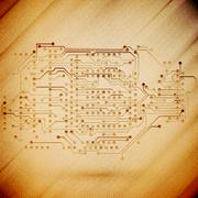 Microchip background, electronics circuit, wooden design vector illustration - stock illustration