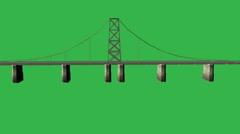 Animated Large Bridge (No Water):  Matte + Loop Stock Footage