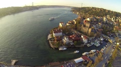 Aerial view on Bosphorus Sea in Istanbul, Turkey. Anadolu Hisari, Goksu River Stock Footage