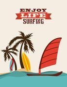 Stock Illustration of Surf Board, Vector illustration. Summer concepts